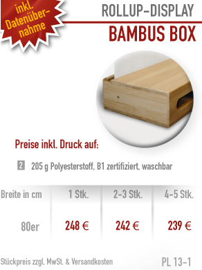 Rollup-Display aus Holz